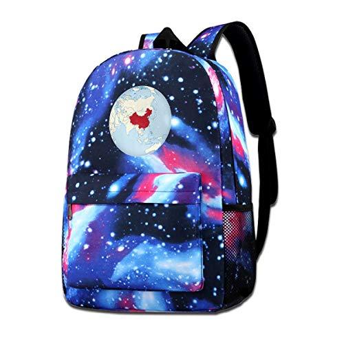Bolsa de hombro con estampado de mapamundi <br>China Map Fashion Mochila casual Star Sky para niños y niñas