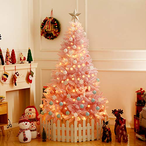 ZEIYUQI 6Ft Pre-Lit Artificial Christmas Tree, Fashion Pink Slim Christmas Tree with 20M LED Lights, 700 Branch Tips, Metal Stand, Holiday Decor Xmas Tree for Home And Office