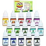 Lebensmittelfarbe - 15 Flüssige Lebensmittel Farben Set für Kuchen Backen, Kekse, Macaron - Hochkonz…