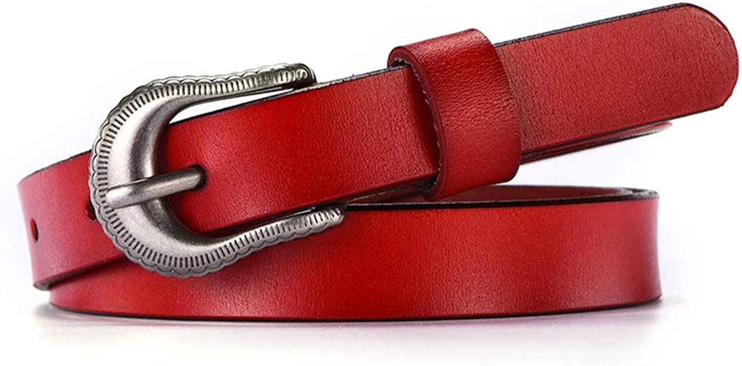 Women's Belt Leather Belt for Pants Dress Jeans Waist Belt with Alloy Buckle (color   Red)