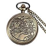 Xioayue Reloj de Bolsillo precisa Collar Colgante de Bronce de Cuarzo Reloj de Bolsillo Set con Caja de Regalo lalay