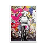 Girl With Balloon Street Wall Graffiti Paintings Art Canvas Prints for Kids Room Decor (No Frame) as picture shows 30x40cm