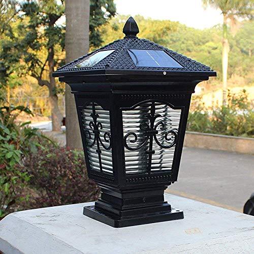 Europea Retro Vintage Energía Solar Columna Luz Lámpara de Mesa al Aire Libre Antiguo Victoria Patio Balcón Césped Jardín Linterna de Vidrio Poste de Puerta Impermeable Luz de alumi Lámpara Re