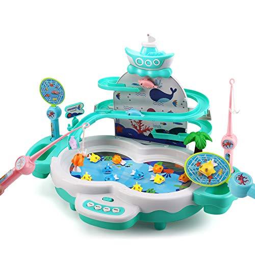 Cute Stone 2in1魚釣りゲーム 磁気釣り 釣りおもちゃ 電動回転 フィッシング 水遊び 室内遊び 室内ゲーム 競争ゲーム 音楽 お風呂 流れる水 室内遊び 卓上ゲーム 子供用 知育おもちゃ 男の子 女の子 誕生日 クリスマス プレゼント 出産祝い