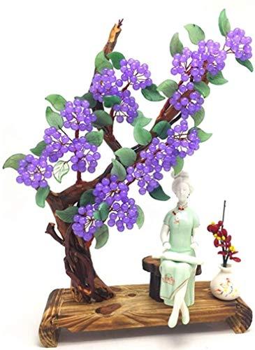 CHENSHUN Natürliche Kristallpulver Chalcedon Aventurine Jade Peach Tree Lucky Lucky Peach Blossom Ornaments
