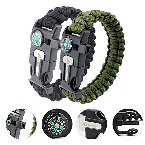 MAIBU Multifunktions Paracord Armband Survival Gear Kit mit eingebautem Kompass, Feuerstarter, Notfallmesser & Whistle - Schnellwechsel Slim Buckle Design Wanderausrüstung (2 Stück)