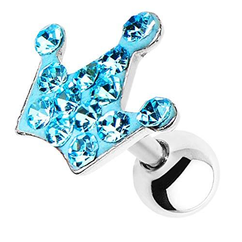 Piersando Tragus Helix Ohr Piercing Cartilage Knorpel Stab Stecker 316 L Chirurgenstahl Krone mit Kristall Aqua