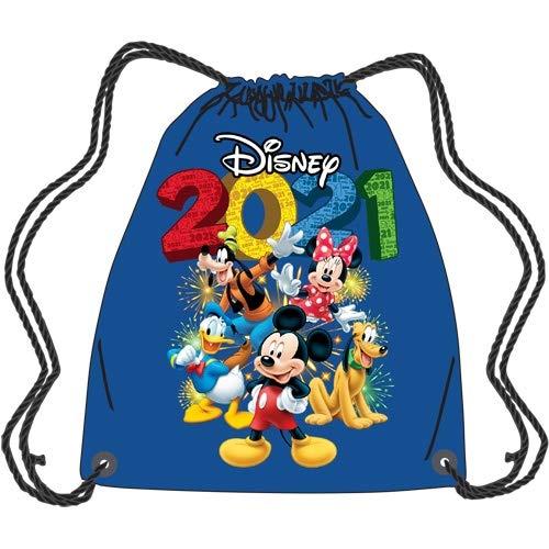2021 Disney Tote, Fun Mickey Minnie Friends Donald Goofy Pluto, Blue Drawstring Bag