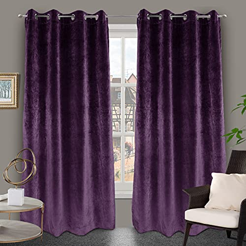 ZHANG HOME Curtains Thermal 100% Blackout Velvet Purple Curtain 52X96Inches.Three Layers of Fabric Set of 2Panels Window Curtains,Violet