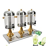 Commercial Juice Dispenser, 8L 3 Tanks Frozen Cold Drink Fruit Juice Beverage Milk Dispenser Machine for Home Office Hotel Use - US Shipping (3 Tank - Gold)