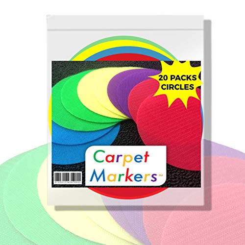 The Original Carpet Markers for Teachers (20 Pack of Circles)   Perfect for Social Distancing   Highest Quality - Use for Years   Floor Decals Sit Stand Line Up Classroom Spots Kindergarten Preschool