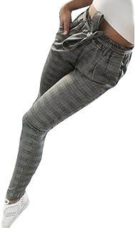 0a68fc5ea53 Amazon.com  ladies Olive Plaid Tapered Pants