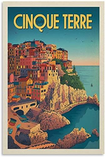 VVBGL Cuadros Decoracion Poster de Viaje Vintage Italia Cinque Terre Lienzo Arte de Pared impresión de Cuadros Poster de Decoracion moderna50x70cm x1 Sin Marco