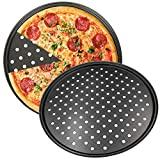 Teglia per Pizza, NALCY 2 Teglie per Pizza Rotonde Forate Antiaderenti, Utensili per Pancake in Acciaio al Carbonio, Teglie per Pizza Forate per Forno, Vassoio per pizza Croccante