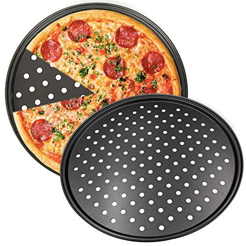Teglia per Pizza, NALCY 2 Teglie per Pizza Rotonde Forate Antiaderenti, Utensili per Pancake in...