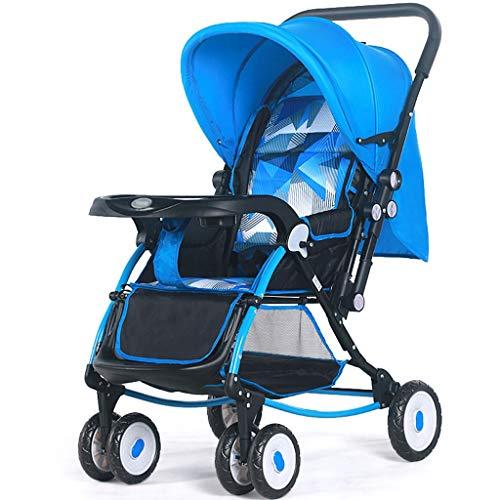 Kiter Poussette Landau La Poussette Haute de Paysage Peut s'asseoir inclinable léger Pliant Le Chariot de bébé Le Choc de Quatre Roues bébé Le Transport de bébé à Deux Sens (Color : Blue)