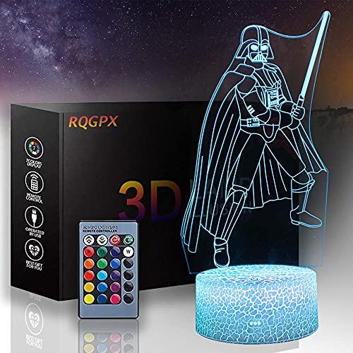 Luz de ilusión 3D de Star Wars 3D Luz nocturna Darth Vader A 16 colores y control remoto táctil – mesa de noche iluminación regalos juguetes de niñas niño niños para cumpleaños
