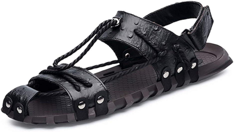 HVSLXM Summer Men Leather Sandals Fashion Handmade Unique Design Breathable Casual Beach shoes Flip Flops