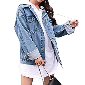 Jean Jacket for Women, Oversized Boyfriend Denim Jacket Loose Fit