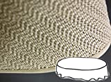 Gartendecke oval 160x220 cm Tischdecke mit Saum abwaschbar Gartentischdecke Balkon Terrasse wetterfest (Beige)