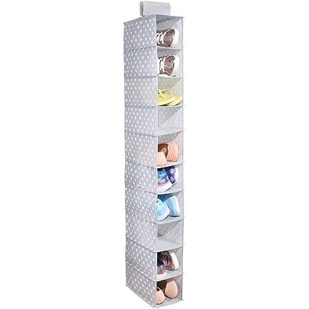 mDesign armoire suspendue en tissu – armoire de rangement polyvalente pour chaussures – parfait comme meuble de rangement pour couloir ou de chambre à coucher – pointillé avec 10 sections – gris/blanc
