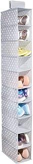 mDesign Estantería de tela colgante con 10 baldas – Zapatero para colgar y ahorrar espacio – Ideal como organizador de ropa y zapatos en la entrada o los dormitorios – Tela de lunares – gris/blanco