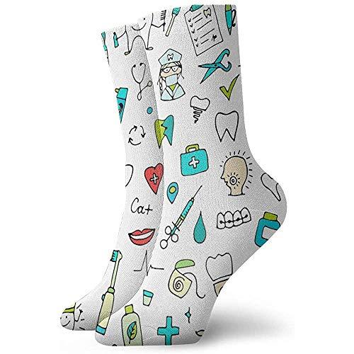 Kevin-Shop Dental tandpasta en tanden Cartoon Casual Mid-Calf Crew sokken nieuw onder de knie Athletic High Ankle Socks