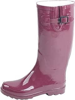 SBC Women's Rain Boots Adjustable Buckle Fashion Mid Calf Wellies Rubber Knee High Snow Multiple Styles
