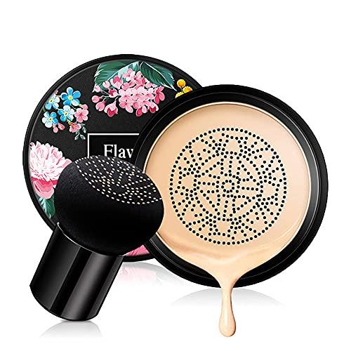 Ownest Crème BB Coussin d'air tête de champignon, correcteur de teint durable Maquillage nude hydratant Pigment éclaircissant Fond de teint liquide CC Crème, Teint même tonique de la peau -Naturel