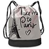 OKIJH Sac à dos Sac à dos de loisirs Sac à cordon Sac à dos multifonctionnel Sac de sport Gym Bag Medium France Hand Drawn Romantic Eiffel Tower Gym Drawstring Bags Backpack Sports String Bundle Backp