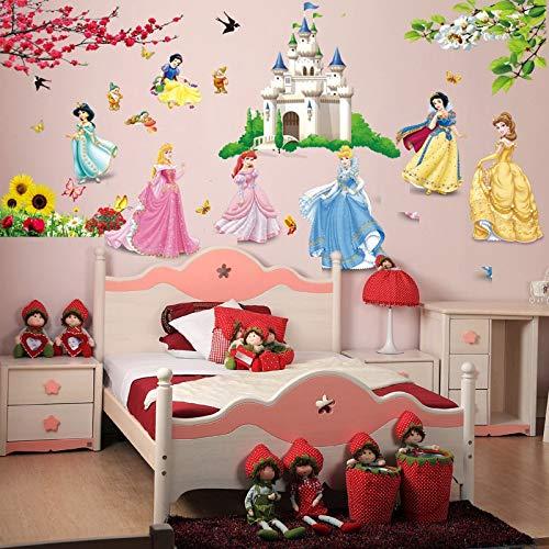 GQCDQT Muurstickers 3d Cartoon Verwijderbare Diy Zeven Prinses Vogels Bloem Kasteel Muurstickers Home Decor Voor Kinderen Kamers Woonkamer Meisje Slaapkamer