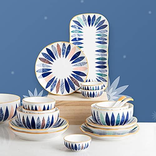 HHTX Juego de vajilla de cerámica de 9 Piezas, Cuencos domésticos de Estilo japonés, Juego de vajilla, Cuencos de arroz de cerámica, Plato de Pescado, Servicio para 2
