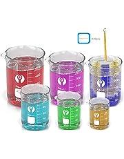 Wandefol Borosilicaatglas set met heldere schenktuit 25 ml 50 ml 100 ml 250 ml 400 ml 600 ml maatbeker met cilinderborstel en label sticker voor schoolwetenschappelijke projecten en feestjes
