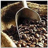 Artland Glasbilder Wandbild Glas Bild einteilig 20x20 cm Quadratisch Kaffeebohnen Rösterei Kaffee Coffee Cafe Landhaus T5PY