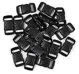 Penta Angel 3/8 Inch Black Plastic Curved Buckle DIY Craft Webbing Contoured Side Quick Release Buckle for Bracelets Backpack Tactical Bag and Gear (20 PCS)