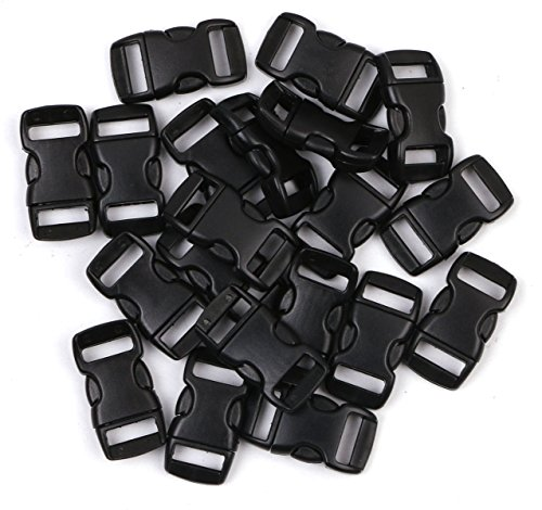 Penta Angel 3/8 Inch Black Plastic Curved Buckle DIY Craft Webbing Contoured Side Quick Release Buckle for Bracelets Backpack Tactical Bag and Gear (20 PCS)