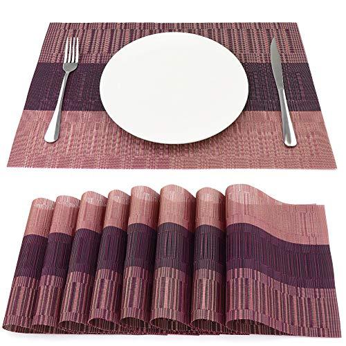 SueH Design Gewebte Platzsets/Tischsets 8er Set Vinyl 45 * 30 cm Rosa
