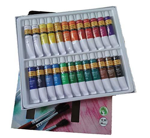 Kit de Pinturas Tempera Manualidades Pigmento Superior No Tóxico, Set Tempera Paint Juego De 24 Colores Tubos 12ml para Maletin y Clase de Pintura para Niños Profecionales(Temperas 24x12ml)