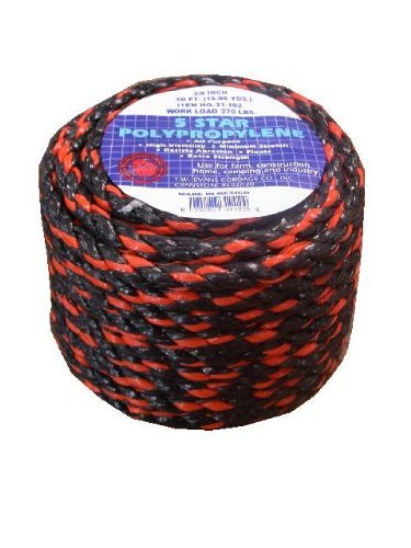 T.W . Evans Cordage 31-133 1/2-Inch -100-Feet California Truck Rope Black and Orange Polypro Rope by T.W . Evans Cordage Co.