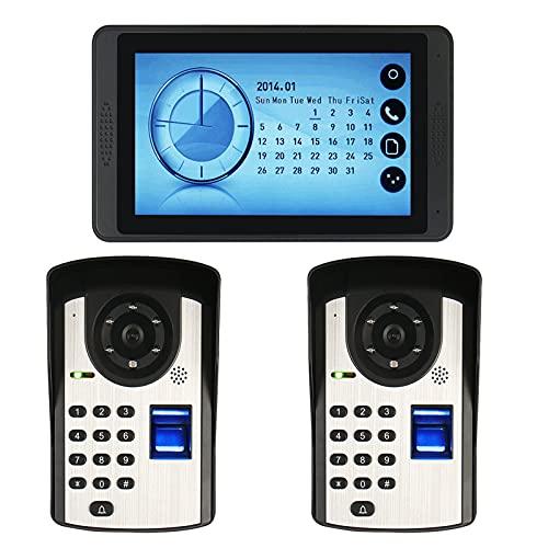 Timbre de video con contraseña de huellas dactilares, intercomunicador, sistema telefónico de videoportero con cable, monitor de pantalla táctil de 7 pulgadas + 2 cámaras de visión nocturna
