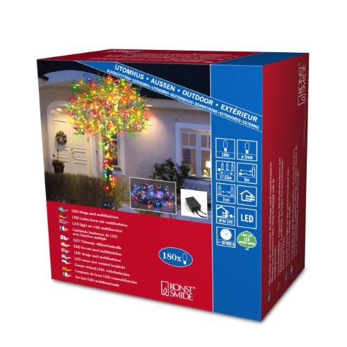 Konstsmide 3632-500 Micro LED Lichterkette / für Außen (IP44) / 24V Außentrafo / mit 8 Funktionen, Steuergerät und Memoryfunktion / 180 bunte Dioden / schwarzes Kabel