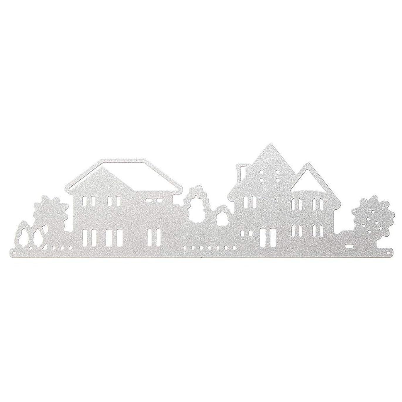 直面するセグメント急速なDIYハウスモデル 金属DIYハウスの切断はステンシルスクラップブックカードアルバム紙エンボスクラフトデコレーションファインハウスダイス ハードカバードールハウスキット (Color : White, Size : One size)