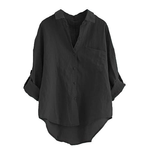 2a63e3db5c Minibee Women s Linen Blouse High Low Shirt Roll-Up Sleeve Tops