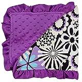 So Sydney Reversible Soft Textured Minky Dot Baby Infant Toddler Blanket with Satin Trim (Mod Flower Purple)