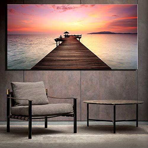 sanzangtang zee zonsondergang canvas schilderij frameloos schilderij grote zonsondergang zeestuk rood woonkamer moderne decoratie zonder lijst schilderij