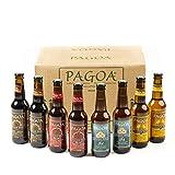 Pagoa - Cerveza Artesana - Pack Degustación 12 Botellas x 33 cl – Incluye las Variedades Pilsner, IPA, Red Ale y Cerveza Negra - Pioneros de la Cerveza Artesanal en España desde 1998