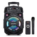 Mobile PA Sound Anlage, SEAPHY PA System mit Funkmikrofone, Karaoke Lautsprecherbox mit Fernbedienung- Schwarz