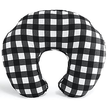 The Peanutshell Black & White Buffalo Plaid Nursing Pillow for Breastfeeding | Pillow & Nursing Pillow Cover for Baby Boys or Girls
