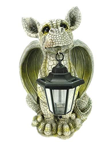Kremers Schatzkiste XL Gartenfigur Drachenkind mit Solarlaterne 42 cm Drache Figur Gargoyle Solarfigur Dragon Figurine