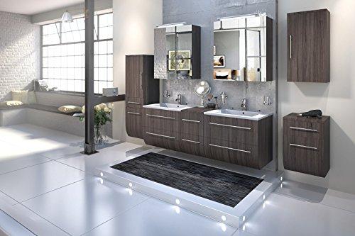 Bad11® - Badmöbelset ZESIRO in Farbe Trüffeleiche Holzoptik - 6 teiliges Komplettset mit Doppelwaschbecken inklusive Keramik-Waschbecken, Unterschrank Hochschrank und Hängeschrank bieten viel Stauraum, 2 x Spiegelschrank für extra breite Spiegelfläche, Farbauswahl